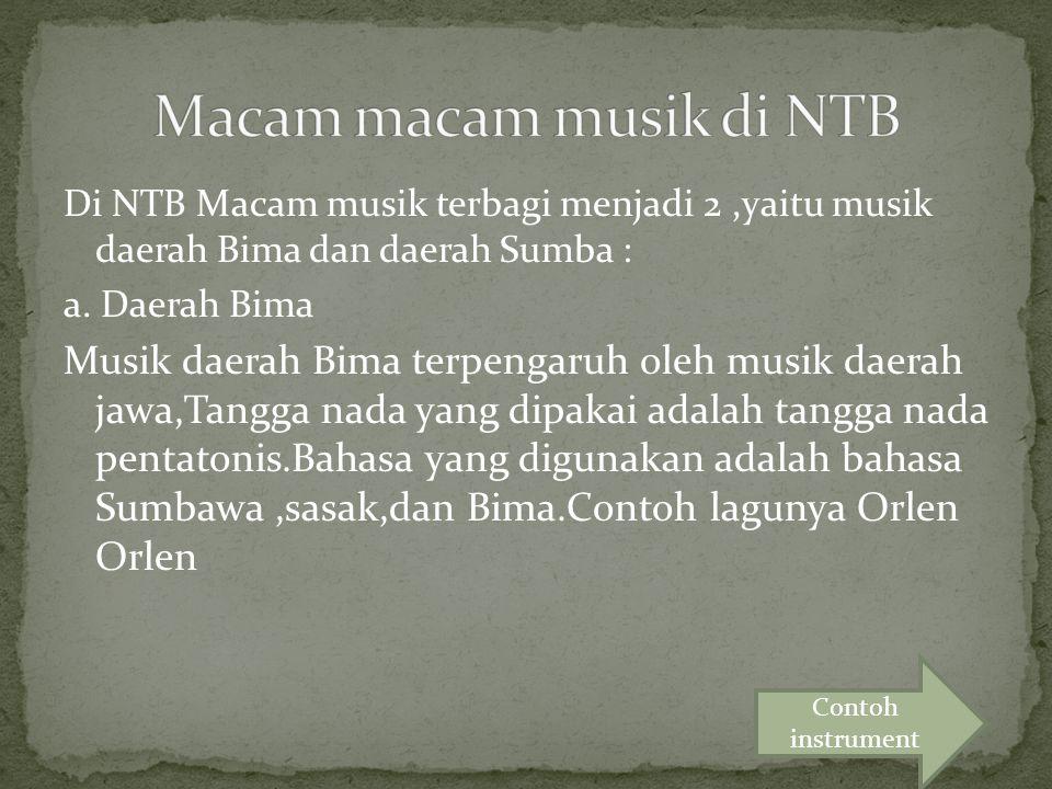 Macam macam musik di NTB