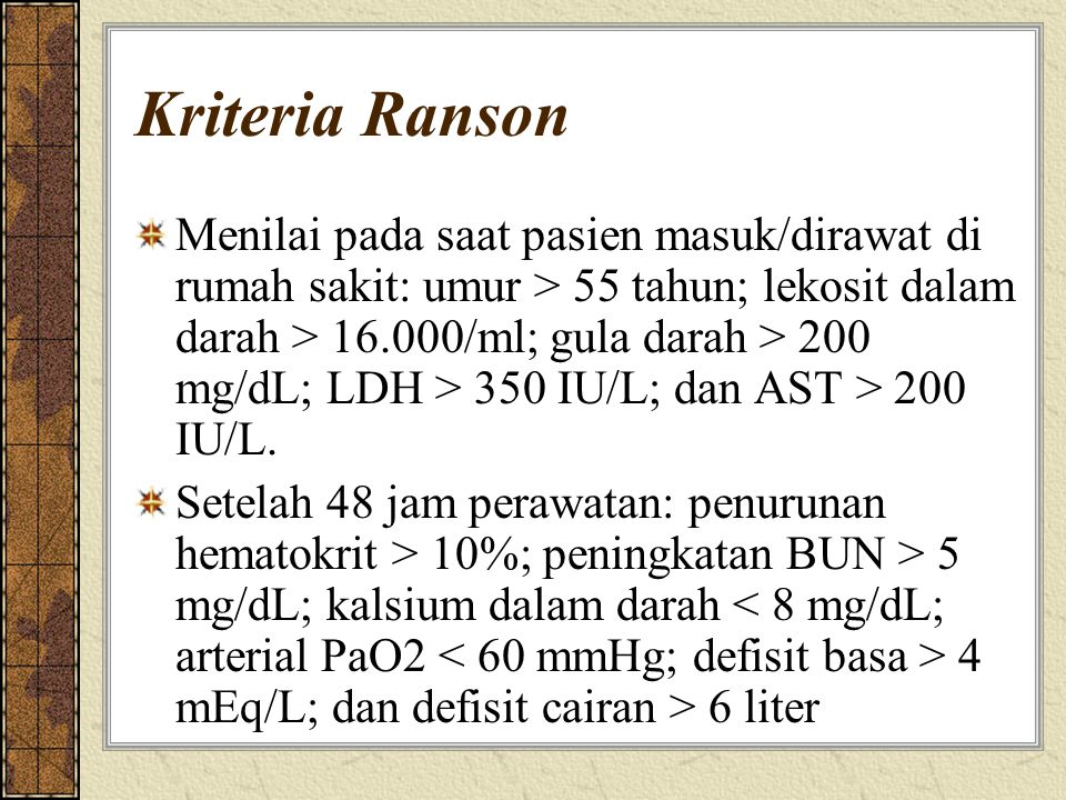 Kriteria Ranson