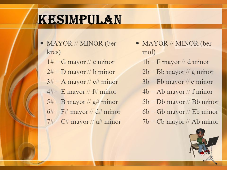 KESIMPULAN MAYOR // MINOR (ber kres) 1# = G mayor // e minor