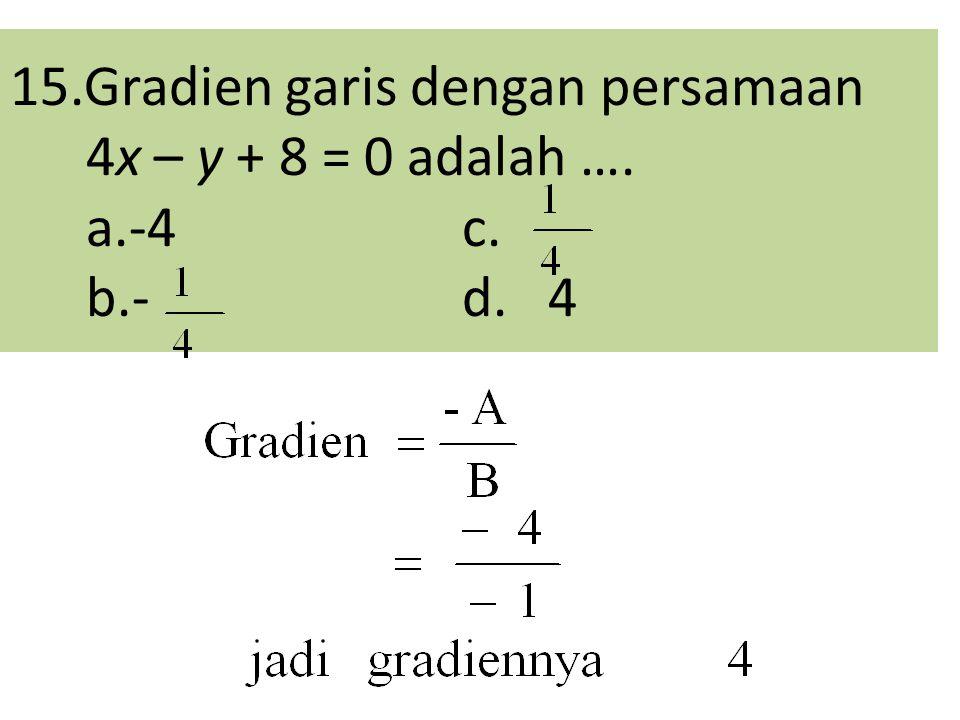 15.Gradien garis dengan persamaan 4x – y + 8 = 0 adalah …. a.-4 c. b.- d. 4