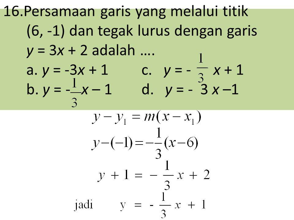 16.Persamaan garis yang melalui titik (6, -1) dan tegak lurus dengan garis y = 3x + 2 adalah ….