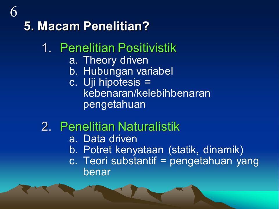 6 5. Macam Penelitian Penelitian Positivistik Penelitian Naturalistik