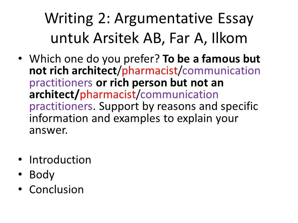 Writing 2: Argumentative Essay untuk Arsitek AB, Far A, Ilkom
