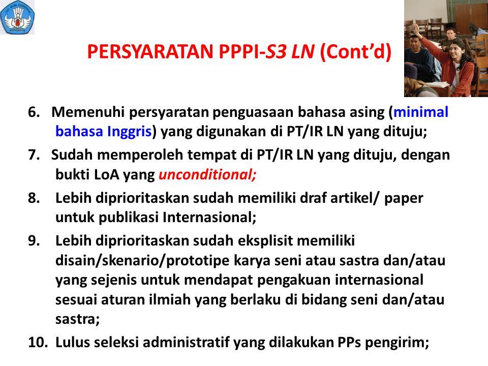 PERSYARATAN PPPI-S3 LN (Cont'd)