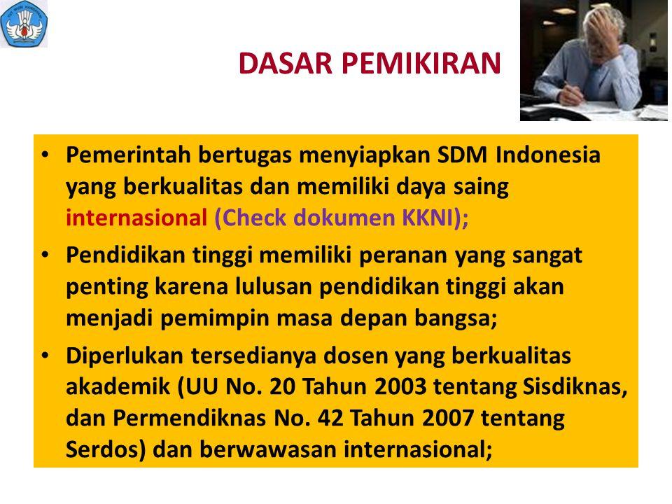 DASAR PEMIKIRAN Pemerintah bertugas menyiapkan SDM Indonesia yang berkualitas dan memiliki daya saing internasional (Check dokumen KKNI);