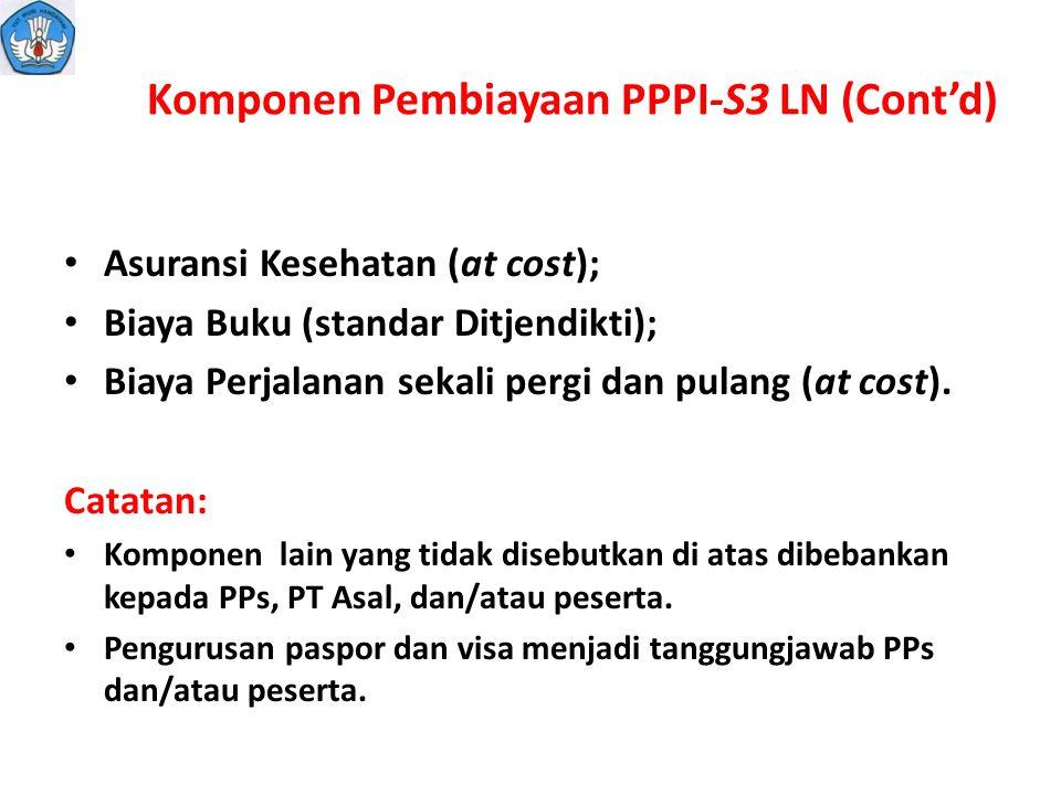 Komponen Pembiayaan PPPI-S3 LN (Cont'd)