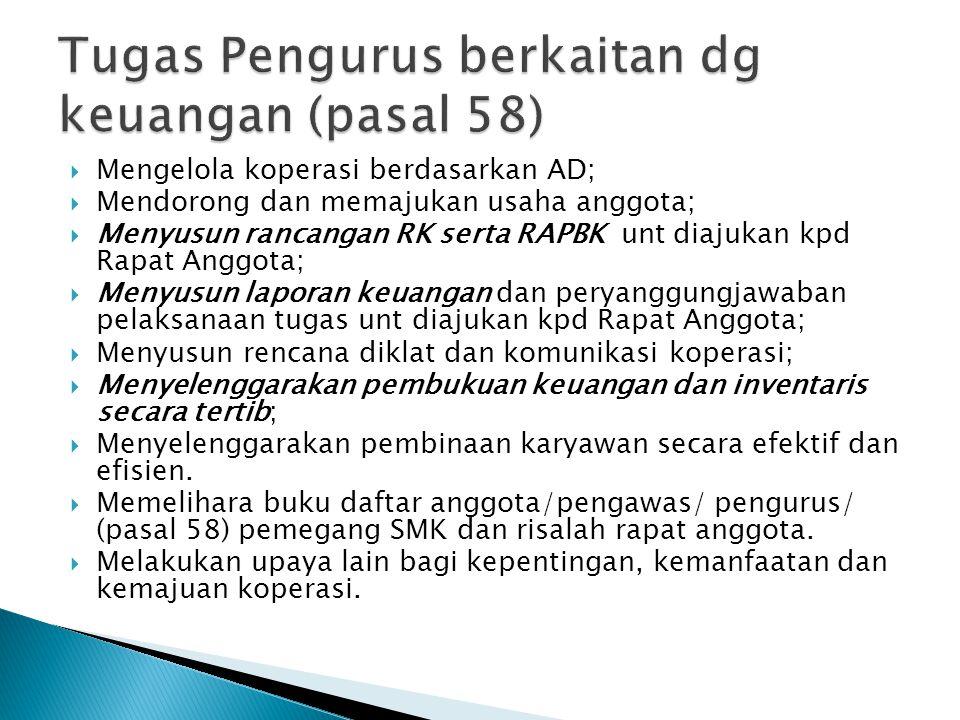 Tugas Pengurus berkaitan dg keuangan (pasal 58)