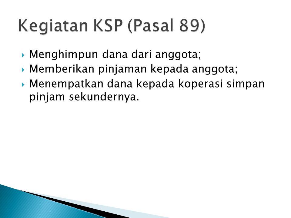 Kegiatan KSP (Pasal 89) Menghimpun dana dari anggota;