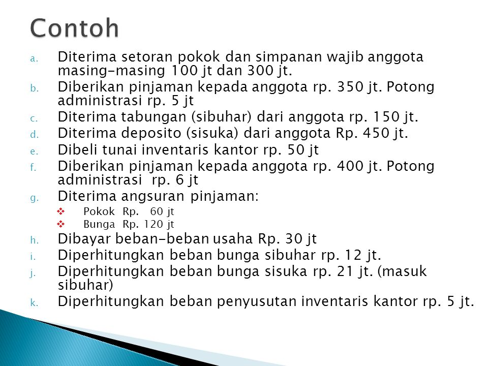 Contoh Diterima setoran pokok dan simpanan wajib anggota masing-masing 100 jt dan 300 jt.