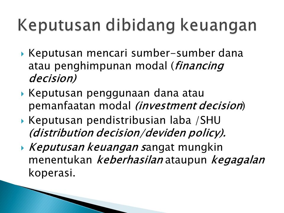 Keputusan dibidang keuangan