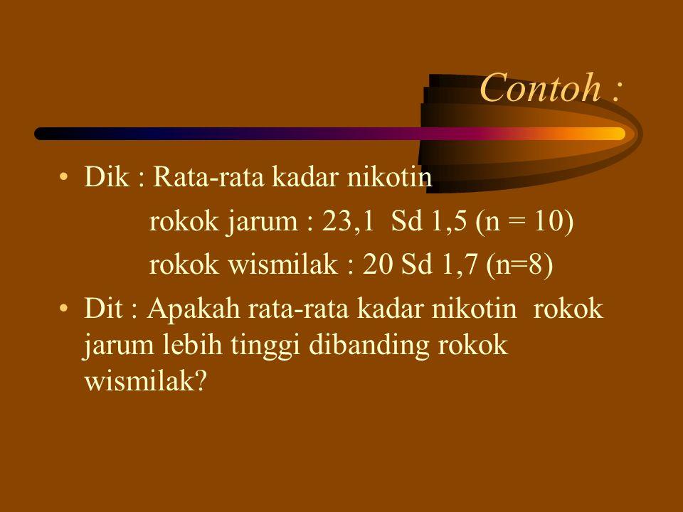 Contoh : Dik : Rata-rata kadar nikotin