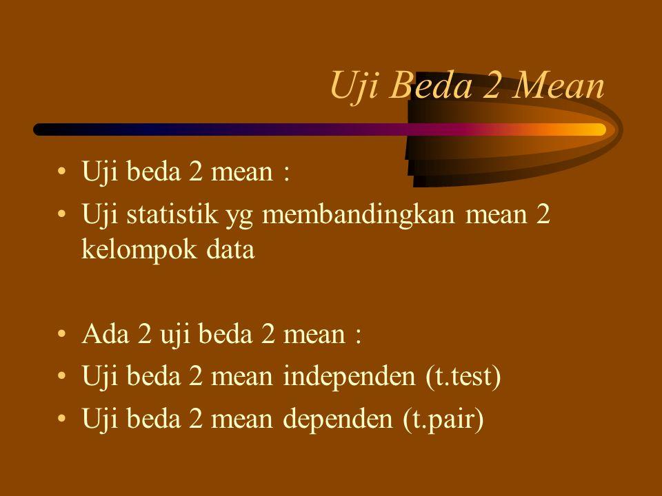 Uji Beda 2 Mean Uji beda 2 mean :