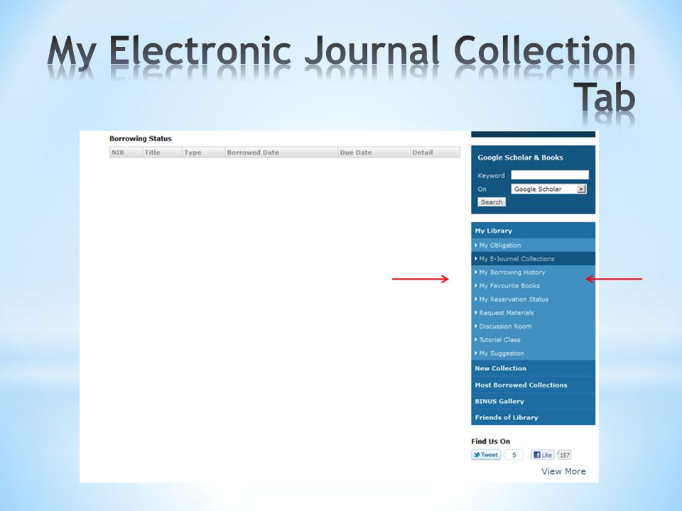 My Electronic Journal Collection Tab