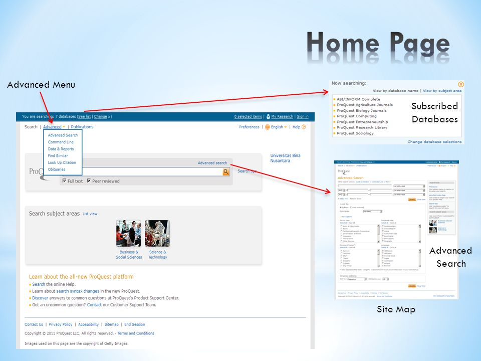 Home Page Advanced Menu Subscribed Databases Advanced Search Site Map