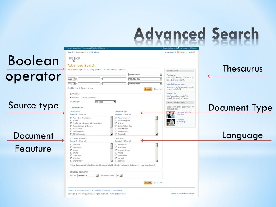 Advanced Search Boolean operator Thesaurus Source type Document Type
