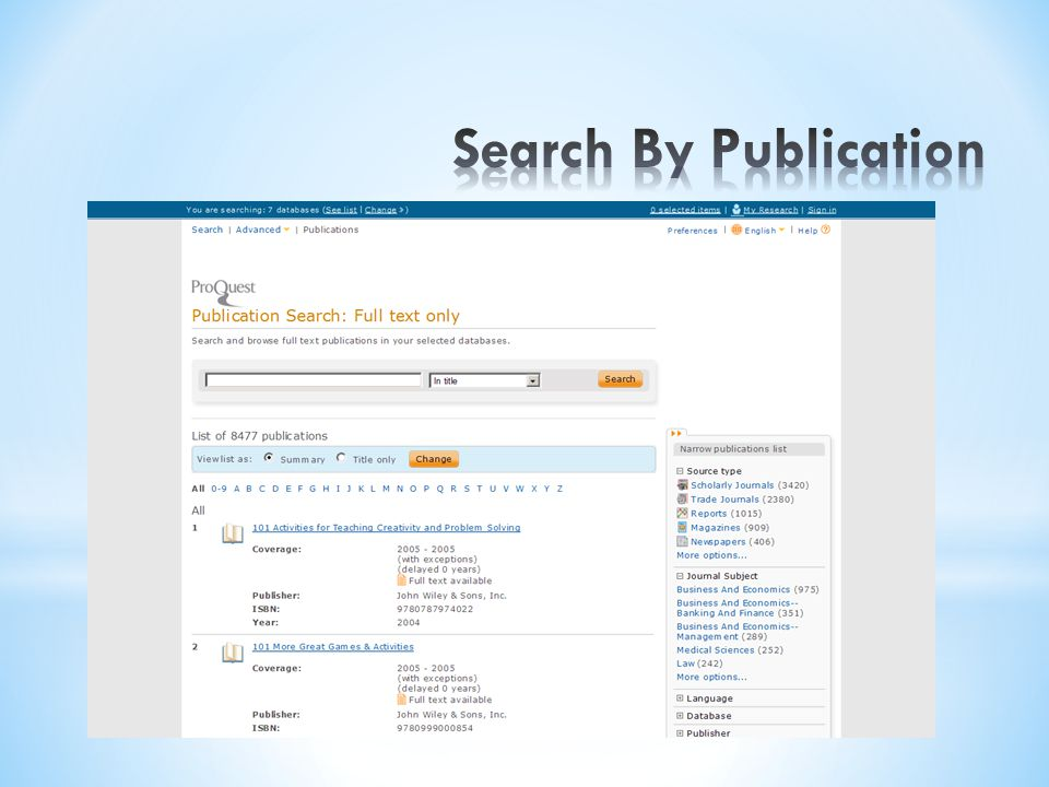 Search By Publication