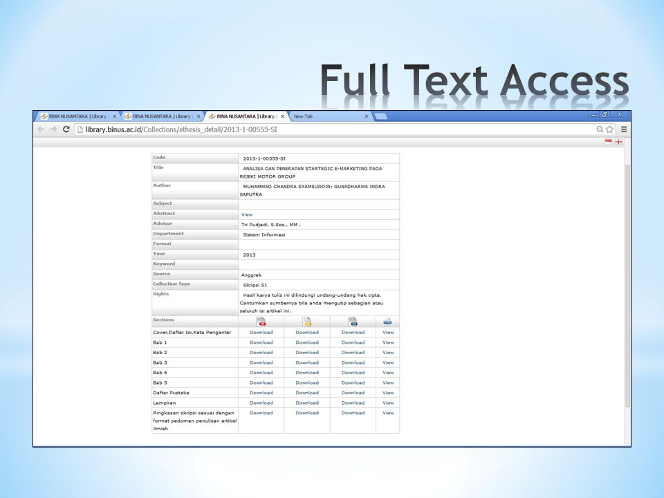 Full Text Access Download 1 dokumen sesuai judul