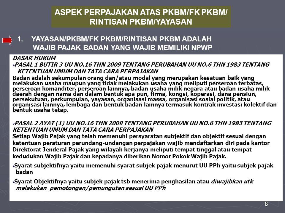ASPEK PERPAJAKAN ATAS PKBM/FK PKBM/ RINTISAN PKBM/YAYASAN