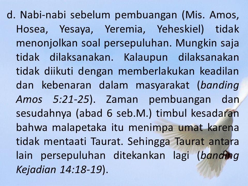 d. Nabi-nabi sebelum pembuangan (Mis