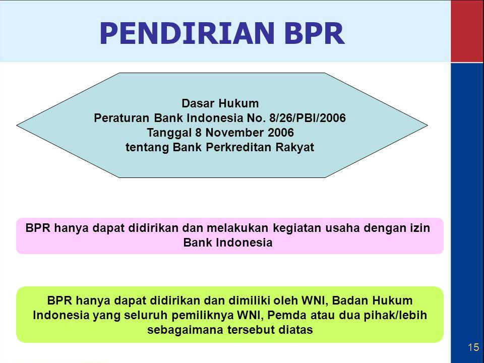 PENDIRIAN BPR Dasar Hukum Peraturan Bank Indonesia No. 8/26/PBI/2006