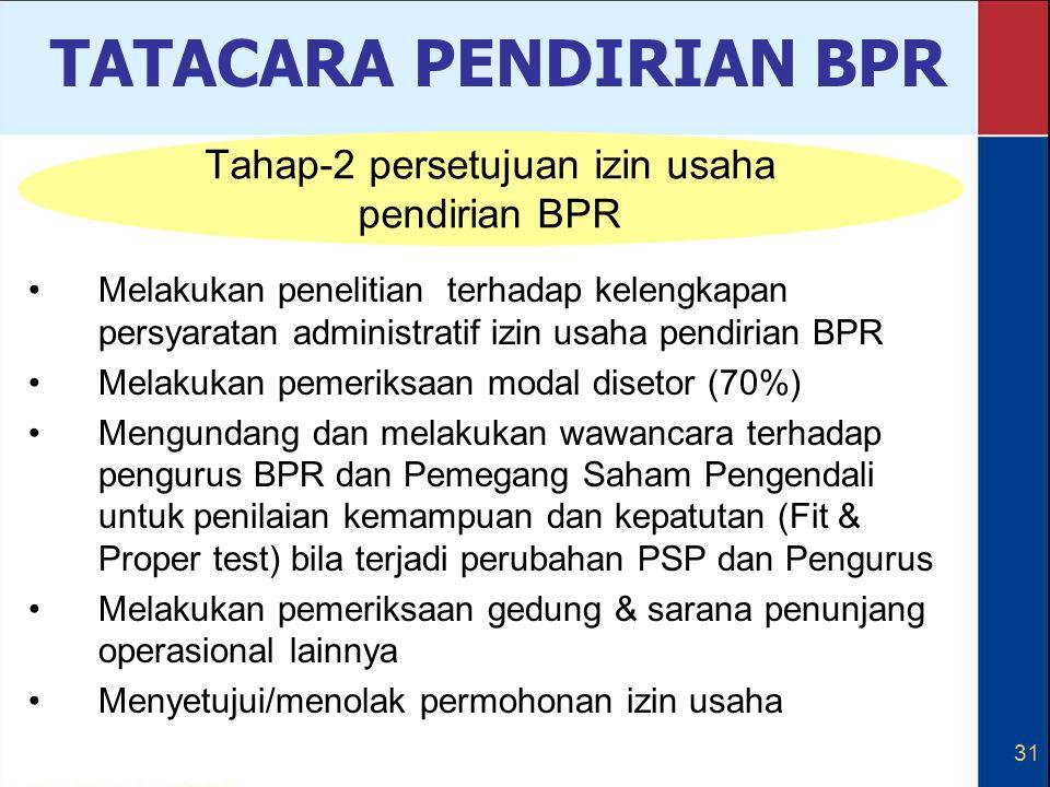 Tahap-2 persetujuan izin usaha pendirian BPR