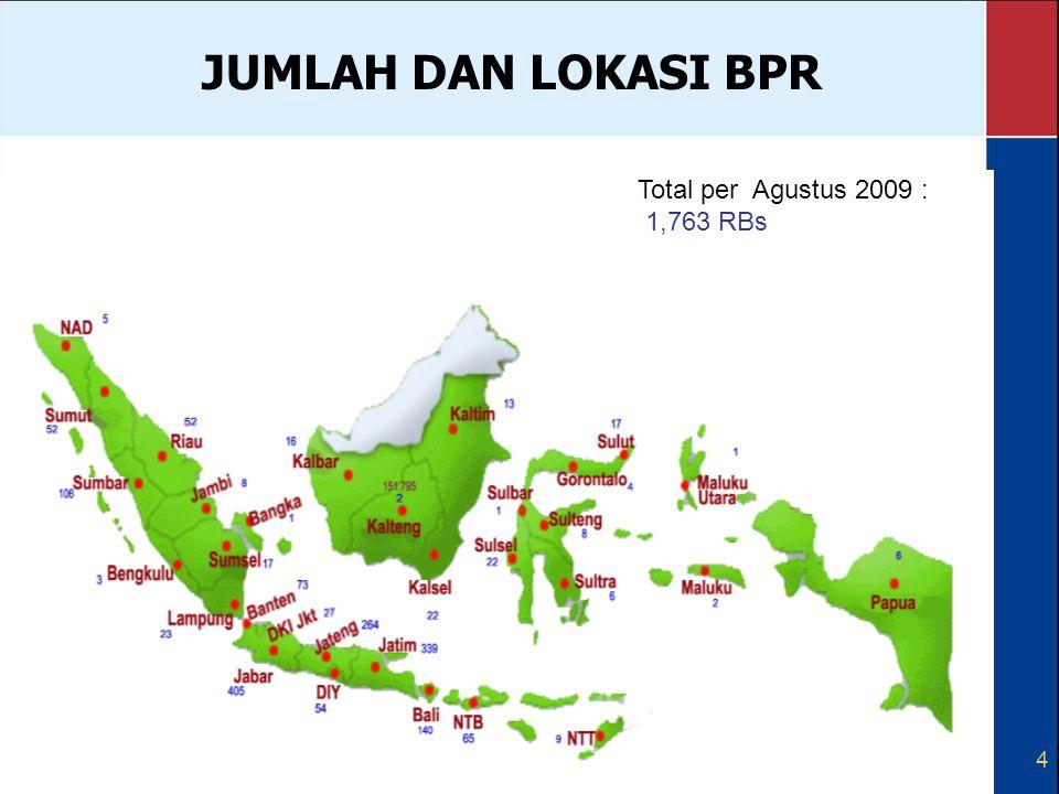 JUMLAH DAN LOKASI BPR Total per Agustus 2009 : 1,763 RBs 4