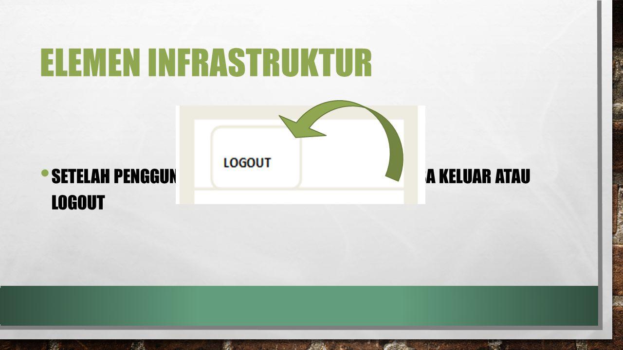 Elemen infrastruktur Setelah penggunaan web tersebut, pengguna bisa keluar atau logout