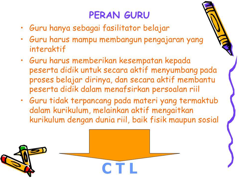 C T L PERAN GURU Guru hanya sebagai fasilitator belajar