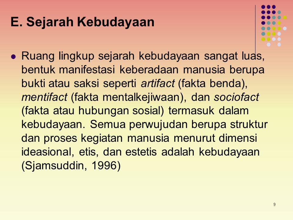 E. Sejarah Kebudayaan