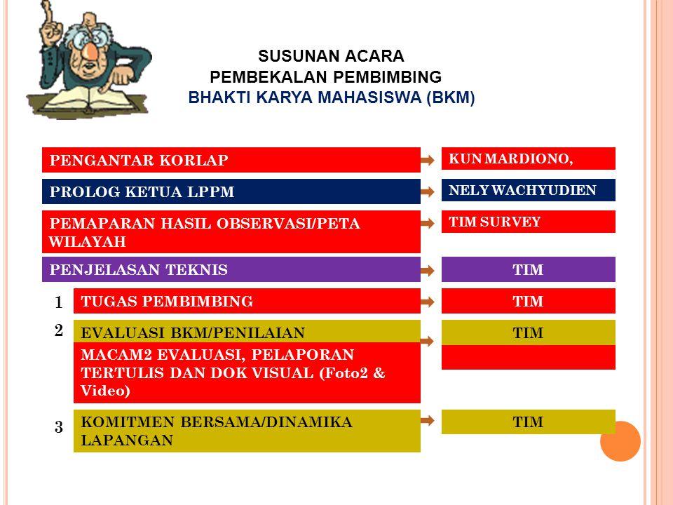PEMBEKALAN PEMBIMBING BHAKTI KARYA MAHASISWA (BKM)