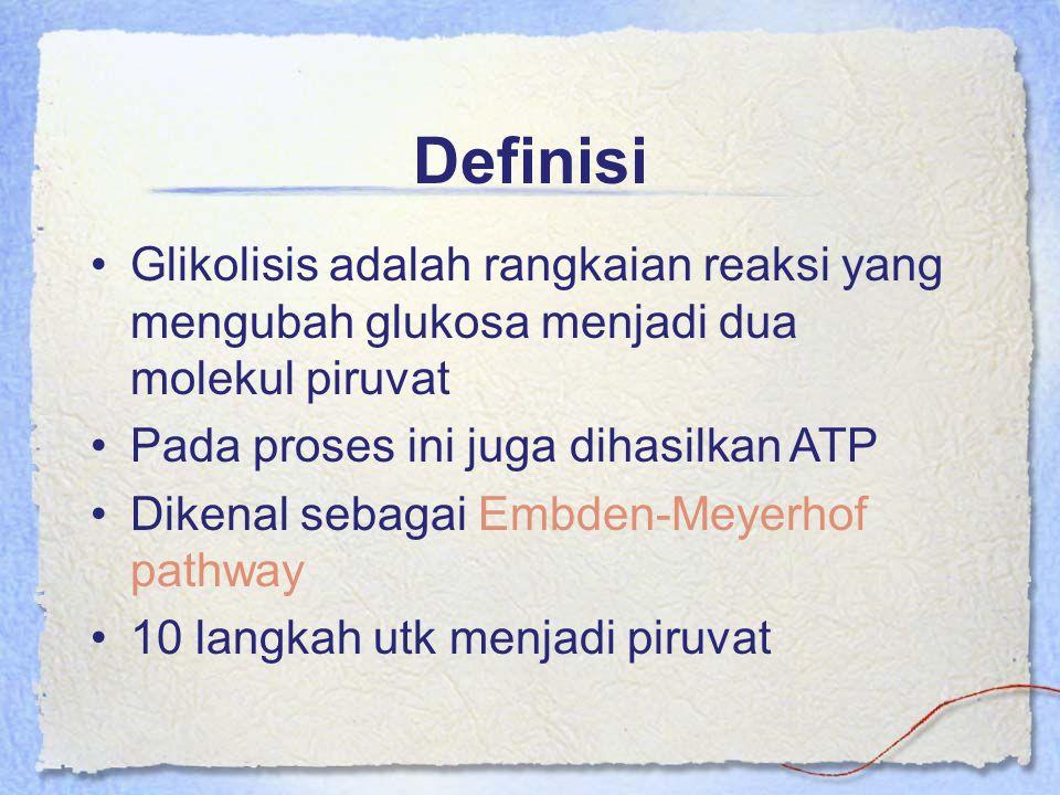 Definisi Glikolisis adalah rangkaian reaksi yang mengubah glukosa menjadi dua molekul piruvat. Pada proses ini juga dihasilkan ATP.