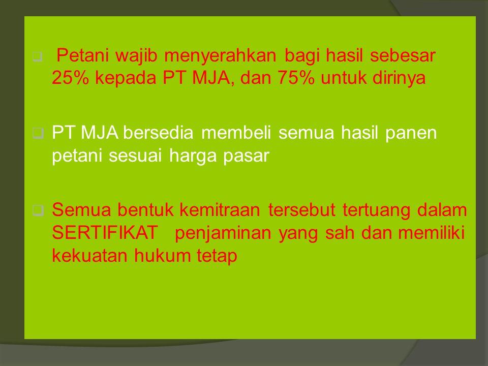 PT MJA bersedia membeli semua hasil panen petani sesuai harga pasar