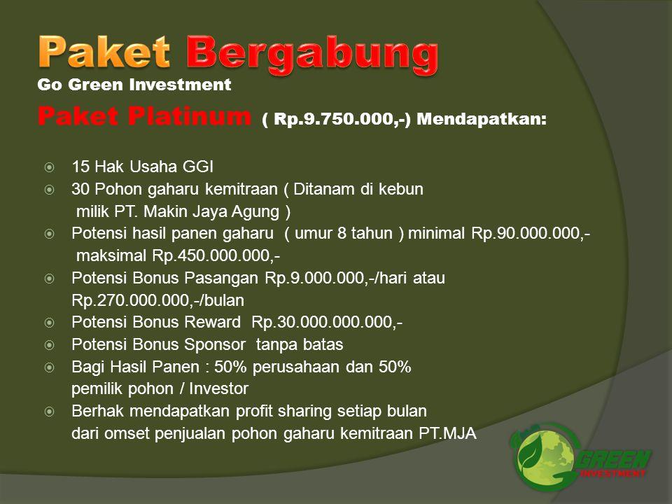 Paket Bergabung Paket Platinum ( Rp.9.750.000,-) Mendapatkan: