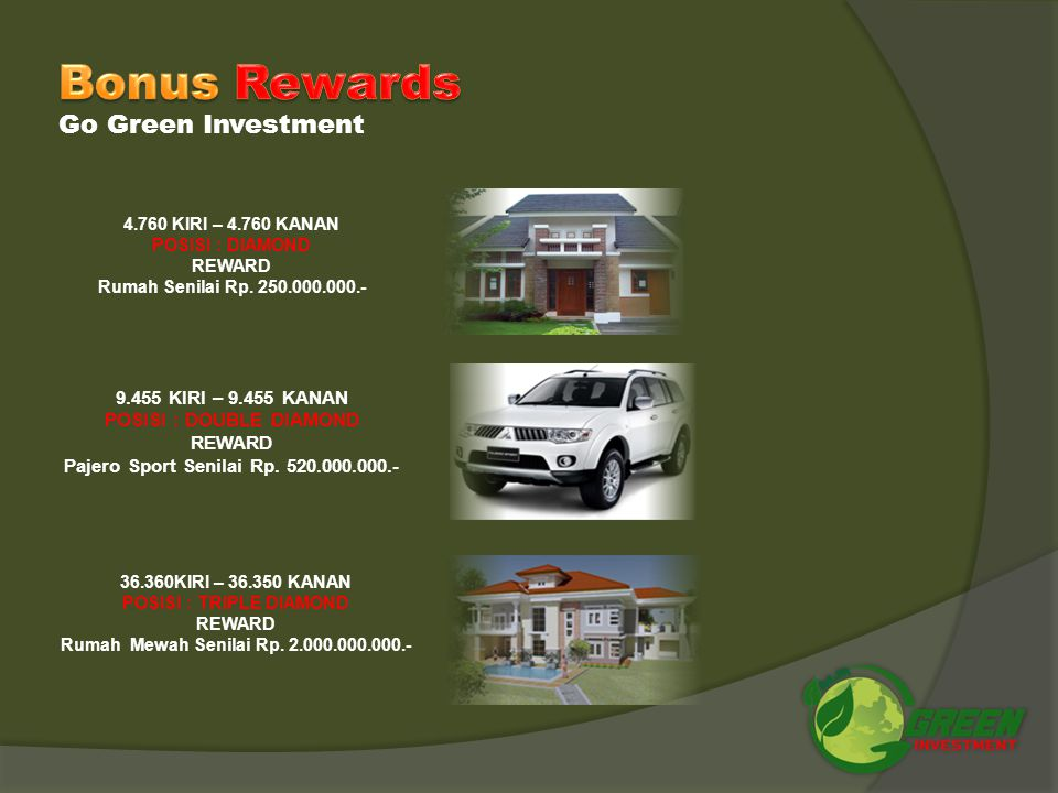 Bonus Rewards Go Green Investment 9.455 KIRI – 9.455 KANAN