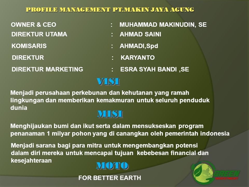 PROFILE MANAGEMENT PT.MAKIN JAYA AGUNG
