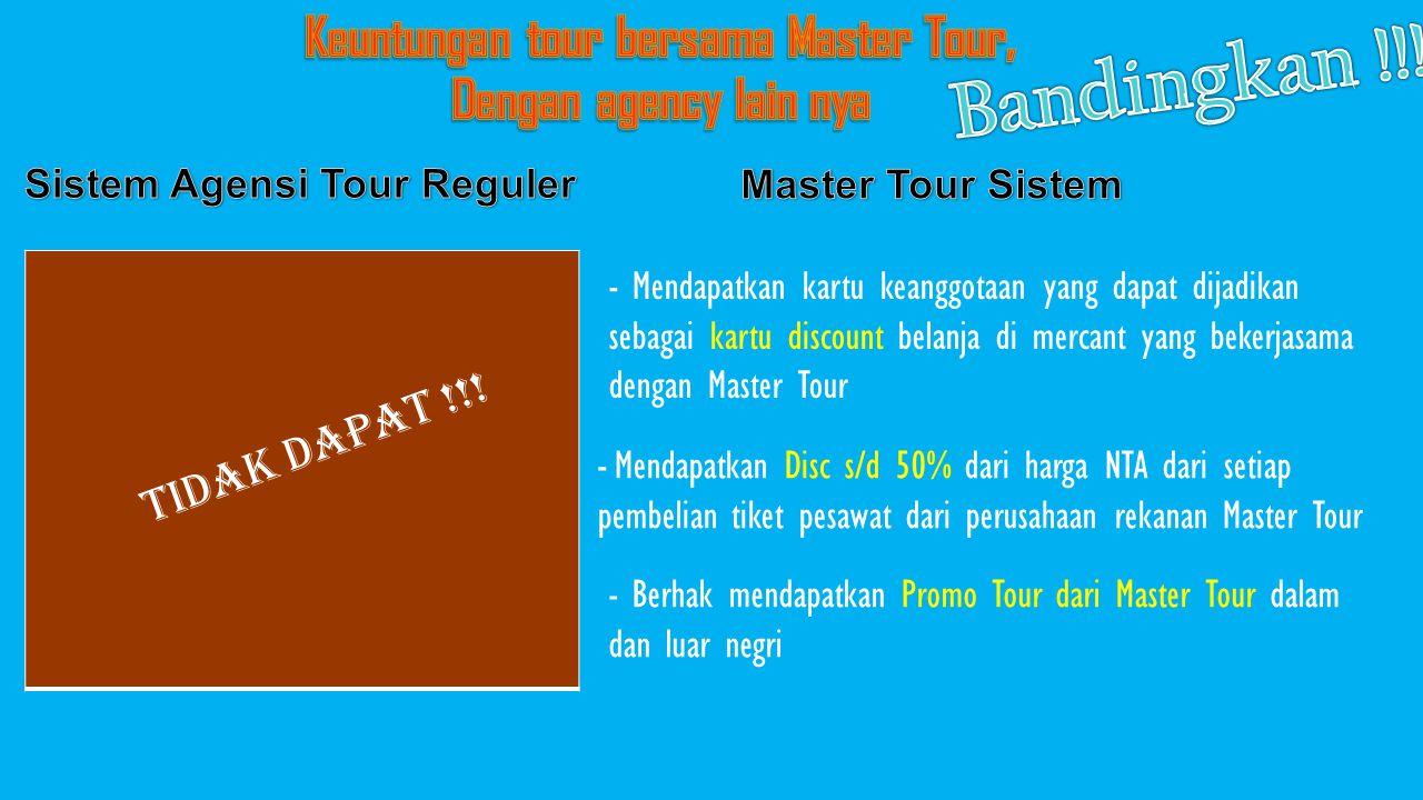 Keuntungan tour bersama Master Tour, Sistem Agensi Tour Reguler