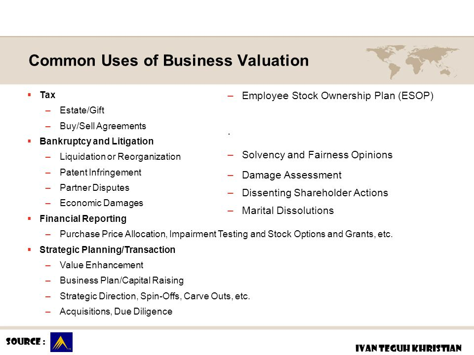 Common Uses of Business Valuation