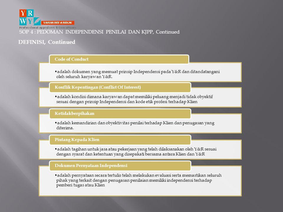 SOP 4 : PEDOMAN INDEPENDENSI PENILAI DAN KJPP, Continued