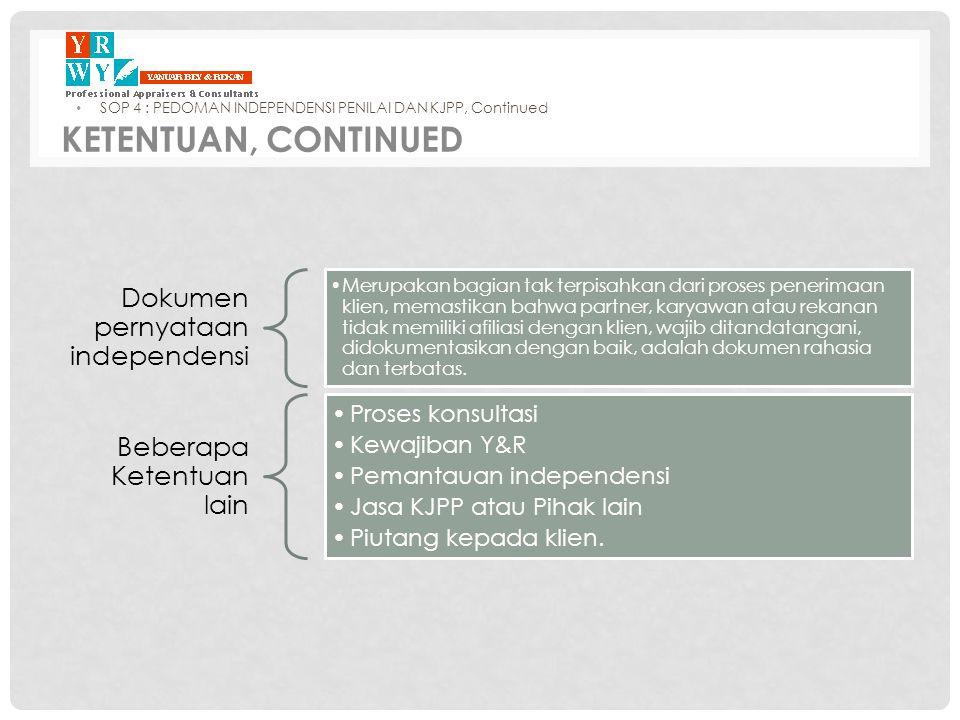 KETENTUAN, Continued Dokumen pernyataan independensi