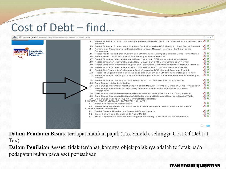 Cost of Debt – find… Dalam Penilaian Bisnis, terdapat manfaat pajak (Tax Shield), sehingga Cost Of Debt (1-Tax)
