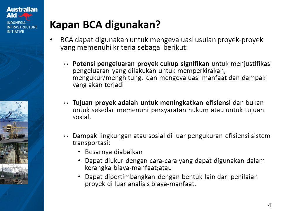 Kapan BCA digunakan BCA dapat digunakan untuk mengevaluasi usulan proyek-proyek yang memenuhi kriteria sebagai berikut:
