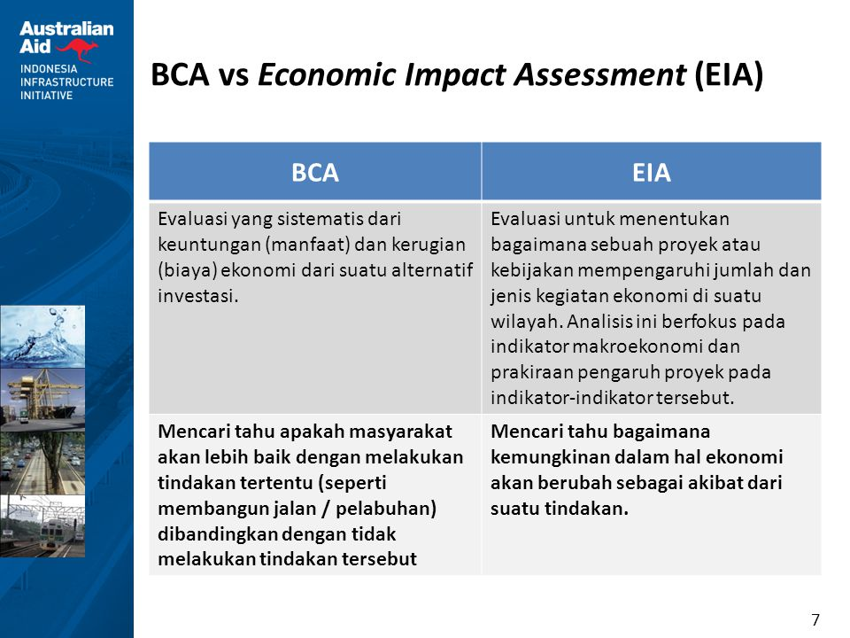 BCA vs Economic Impact Assessment (EIA)