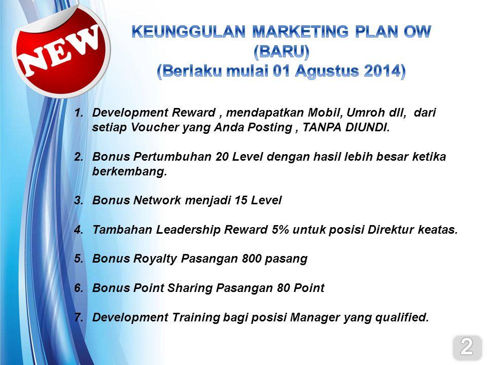 KEUNGGULAN MARKETING PLAN OW (BARU) (Berlaku mulai 01 Agustus 2014)