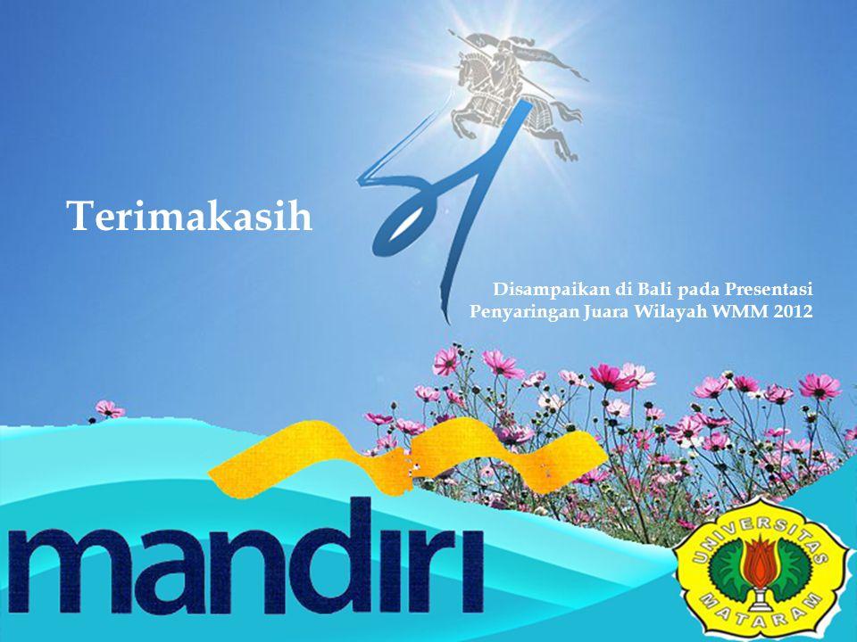Terimakasih Disampaikan di Bali pada Presentasi Penyaringan Juara Wilayah WMM 2012