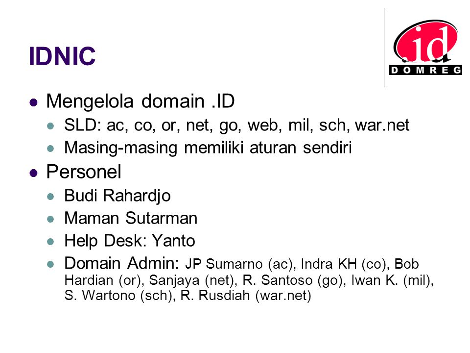 IDNIC Mengelola domain .ID Personel