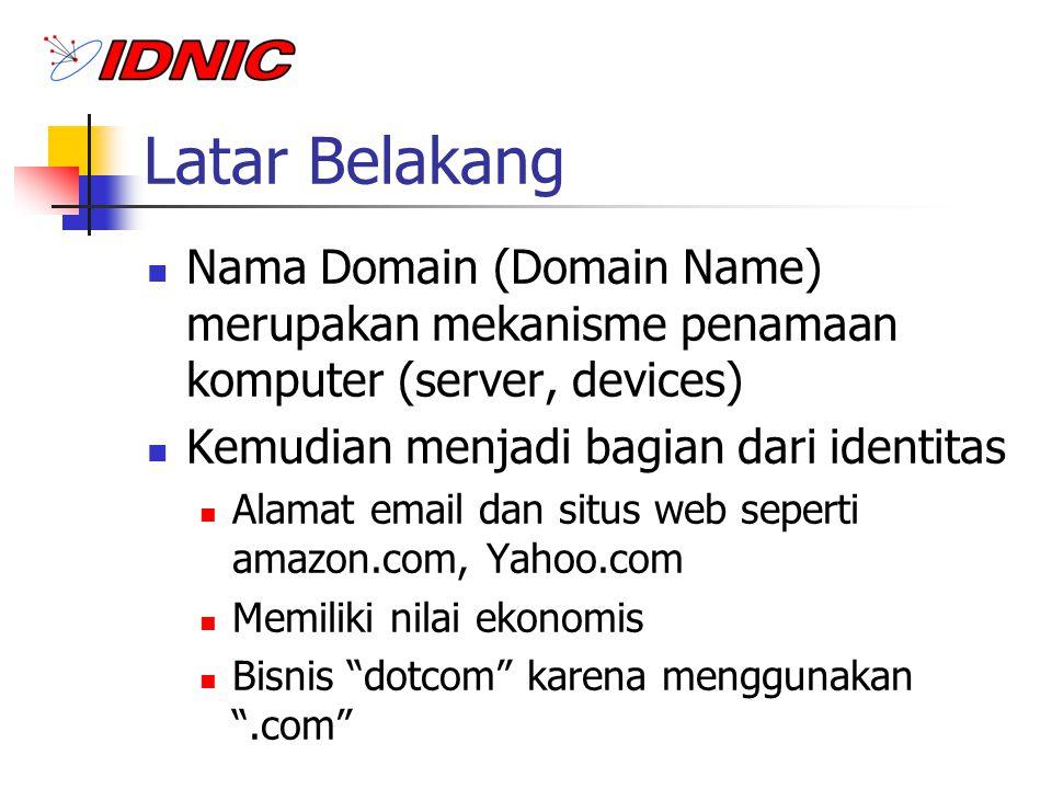 Latar Belakang Nama Domain (Domain Name) merupakan mekanisme penamaan komputer (server, devices) Kemudian menjadi bagian dari identitas.