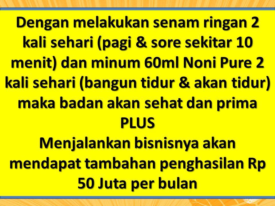 Dengan melakukan senam ringan 2 kali sehari (pagi & sore sekitar 10 menit) dan minum 60ml Noni Pure 2 kali sehari (bangun tidur & akan tidur) maka badan akan sehat dan prima