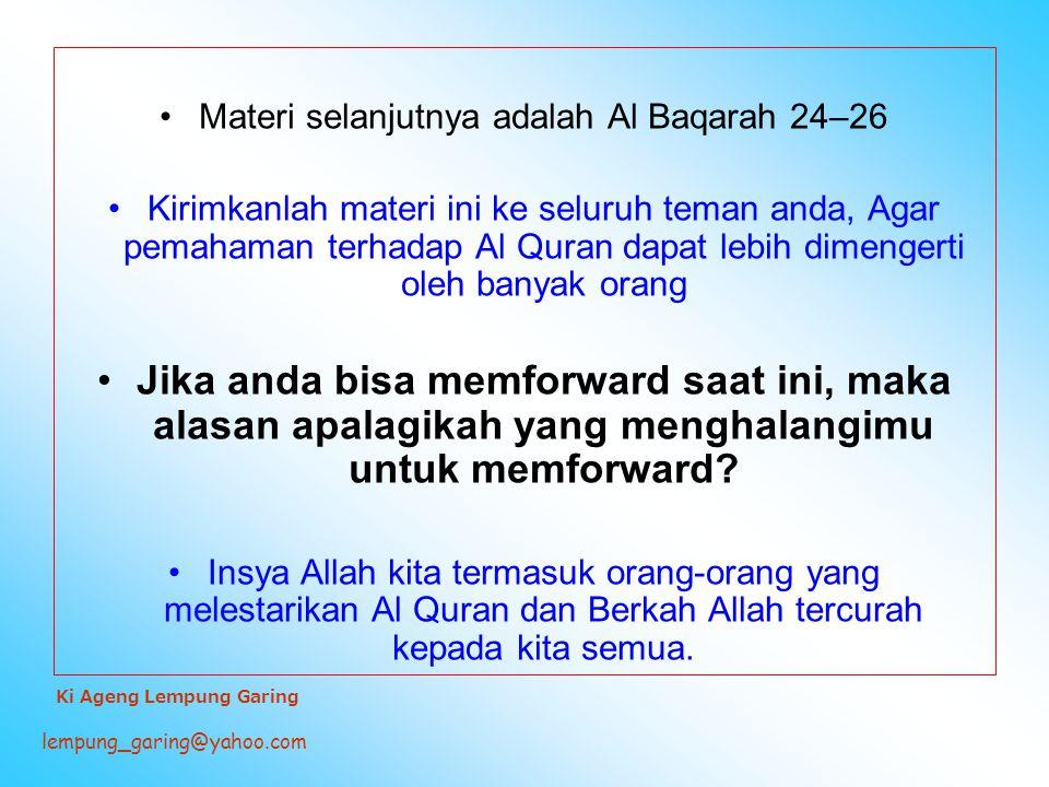 Materi selanjutnya adalah Al Baqarah 24–26
