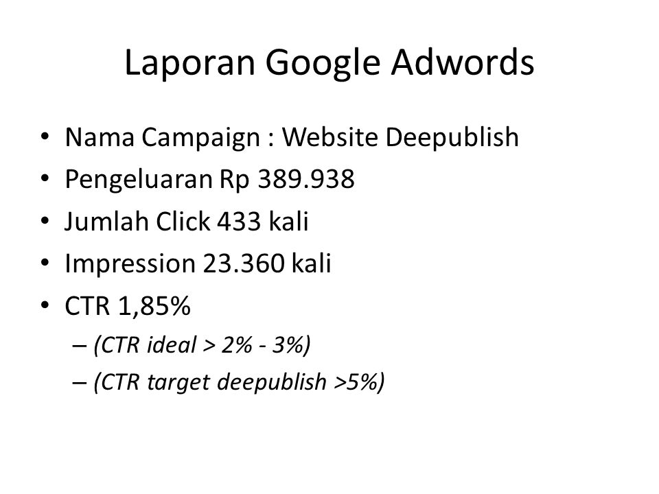 Laporan Google Adwords