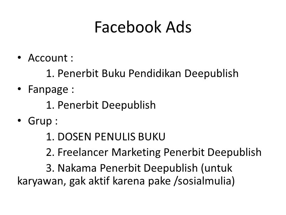Facebook Ads Account : 1. Penerbit Buku Pendidikan Deepublish
